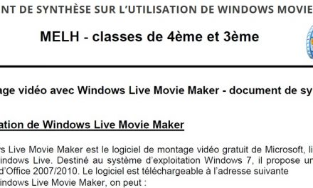 Document de synthèse sur l'utilisation de windows movie maker